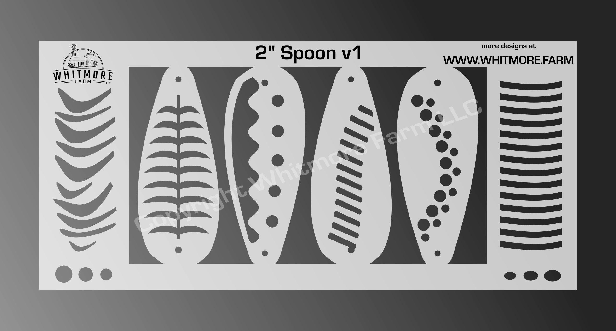2 Inch Spoon fishing lure airbrush stencil