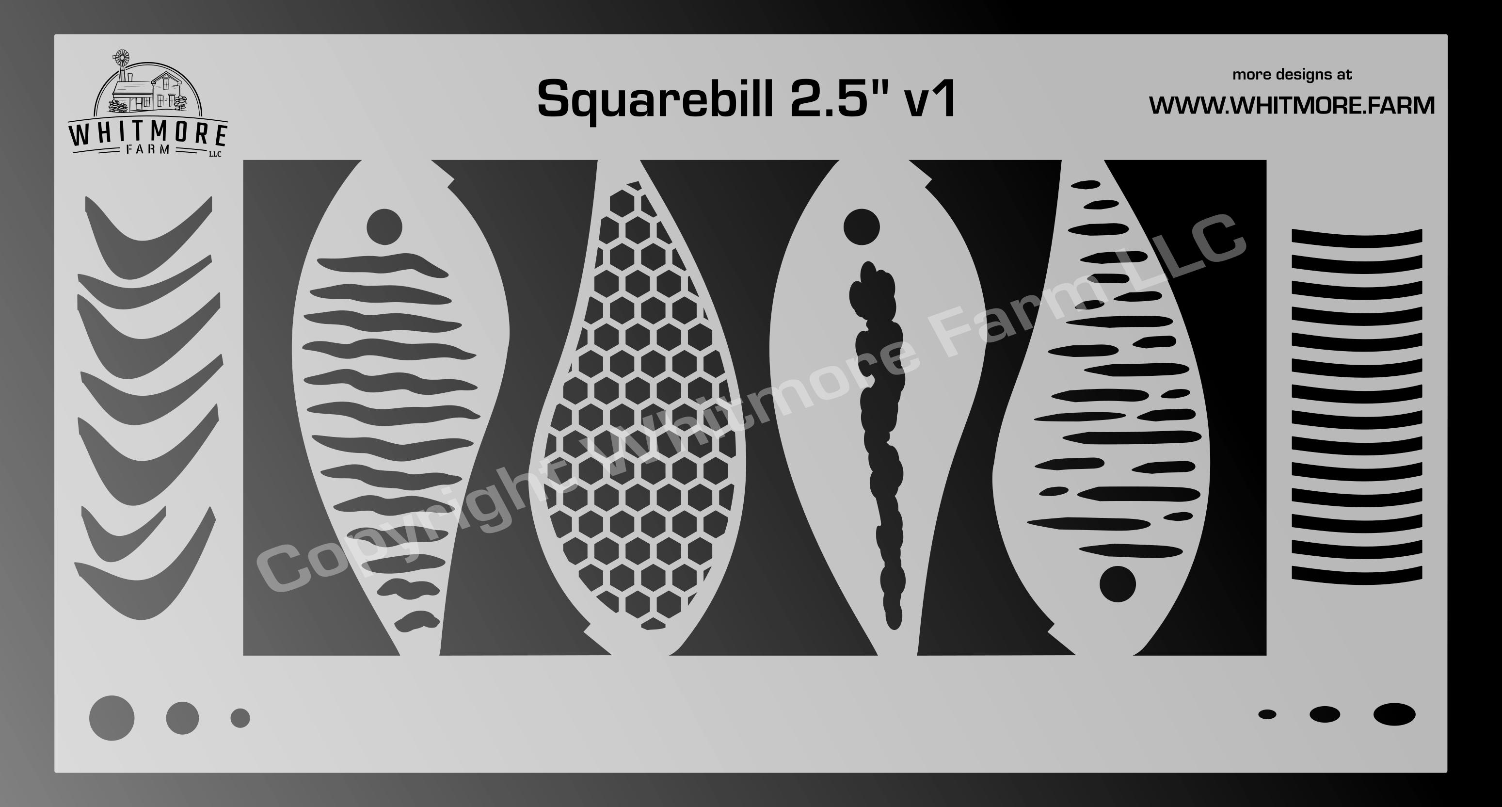 Squarebill fishing lure airbrush stencil - 2.5 Inch v2