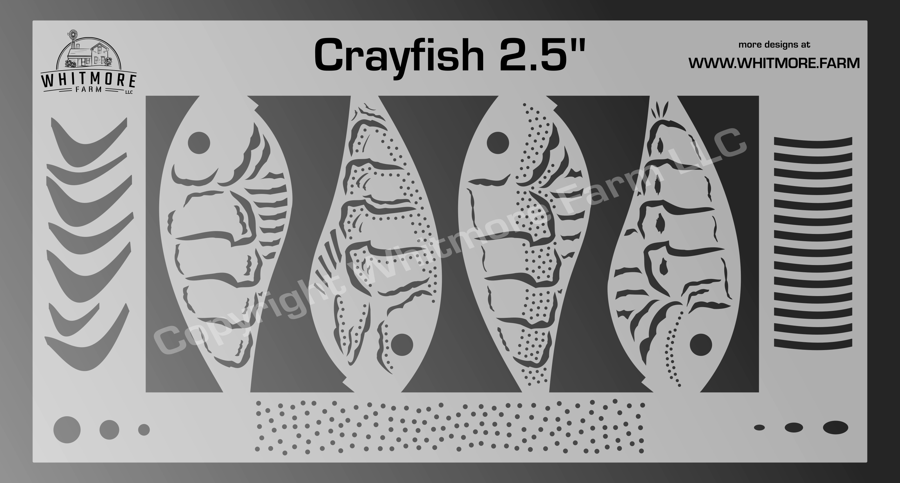 Crayfish fishing lure airbrush stencil - 2.5 Inch