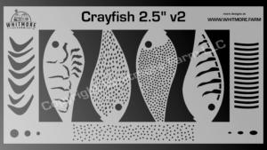 Crayfish v2 fishing lure airbrush stencil - 2.5 Inch