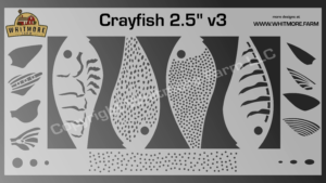 Crayfish v3 fishing lure airbrush stencil - 2.5 Inch
