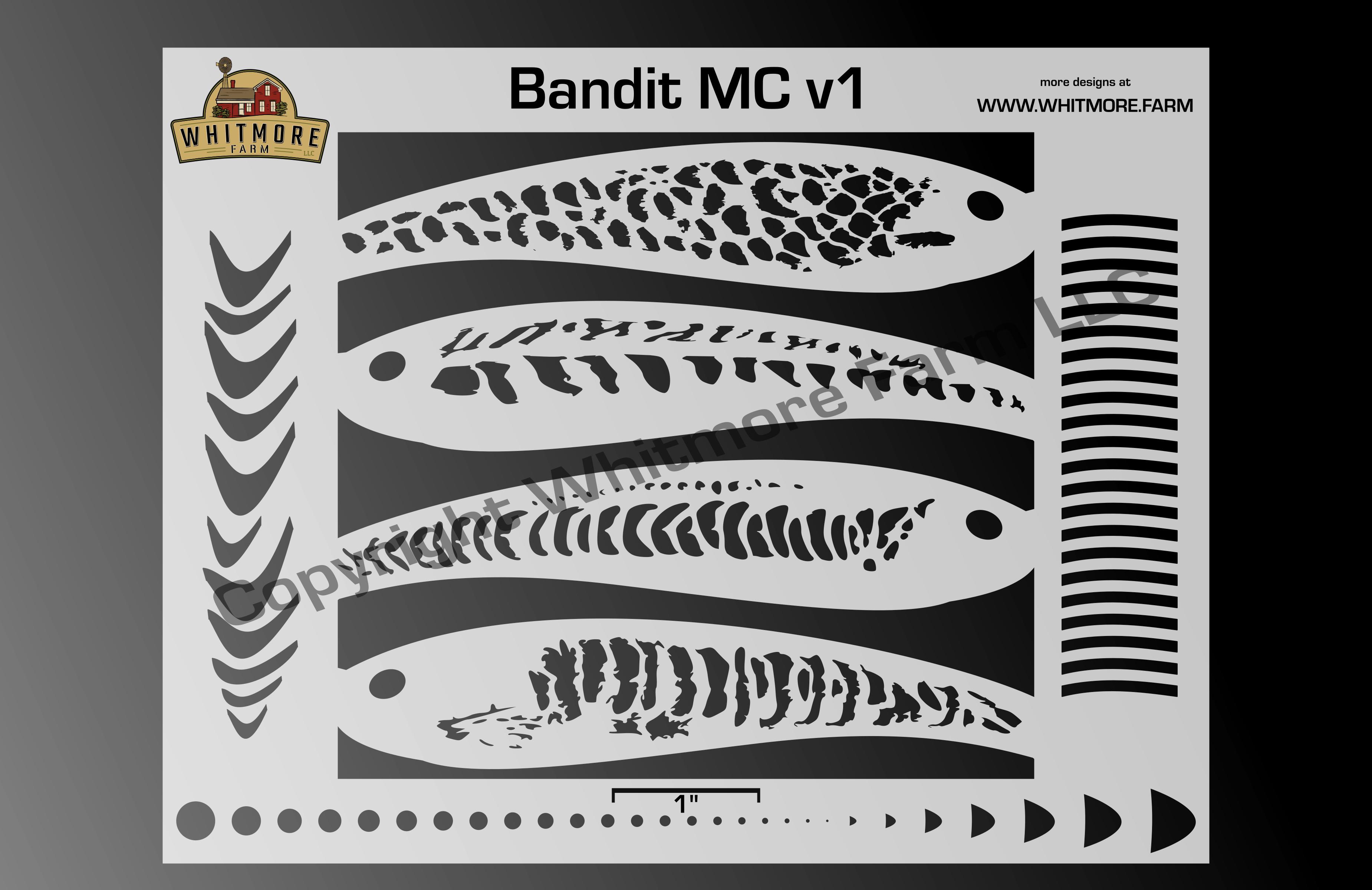 Bandit MC v1 fishing lure airbrush stencil