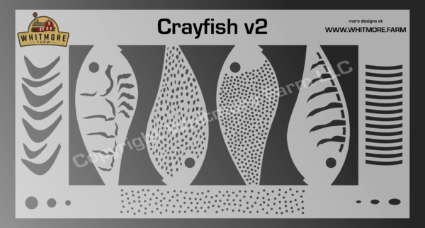 Crayfish v2 fishing lure airbrush stencil