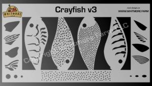 Crayfish v3 fishing lure airbrush stencil