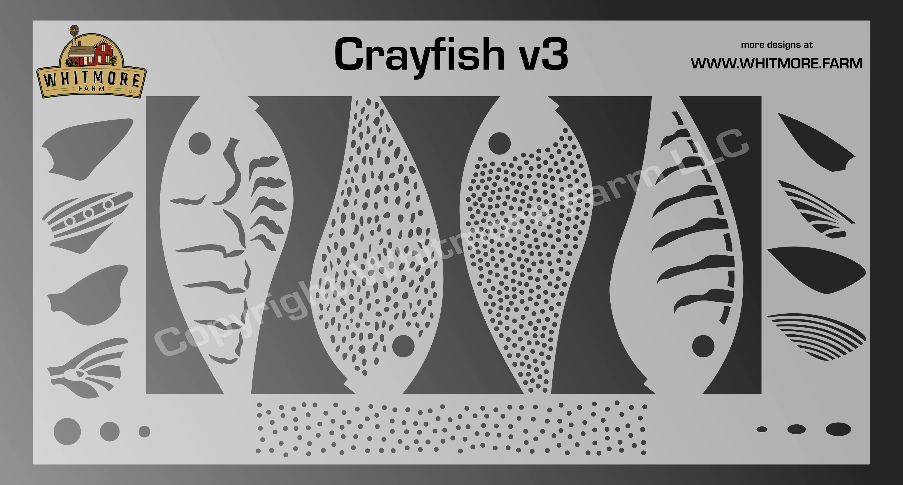 Crayfish v3 fishing lure airbrush stencil