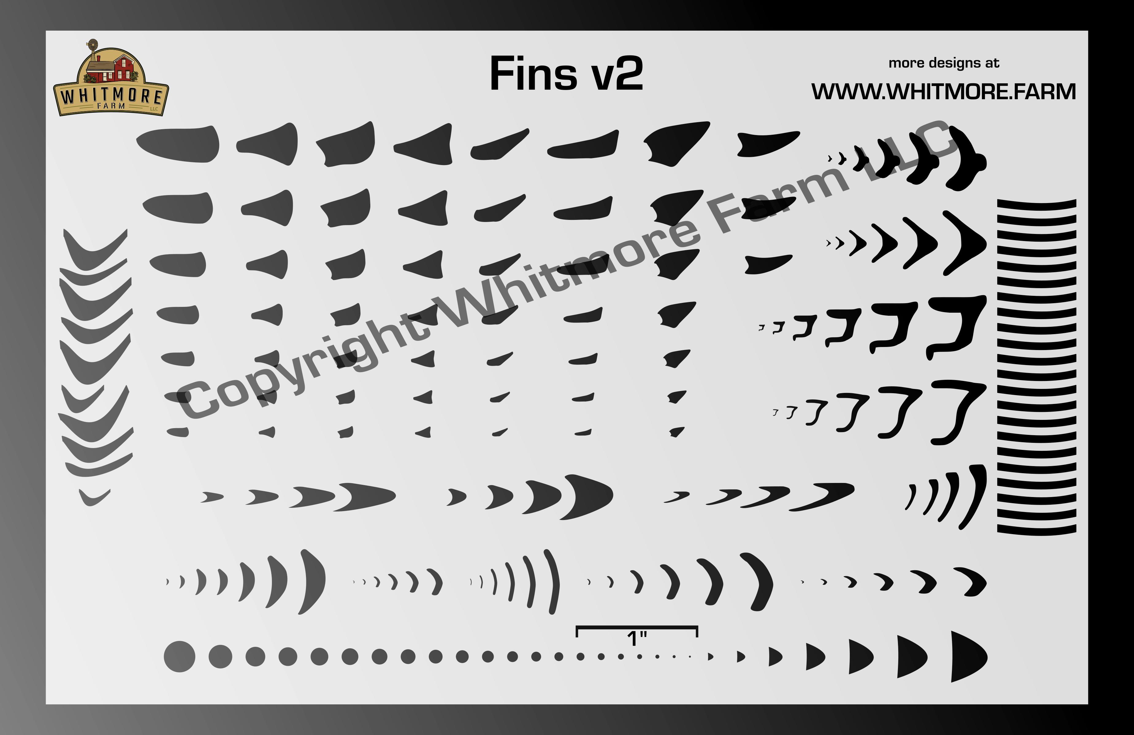 Fins v2 Assortment airbrush stencil