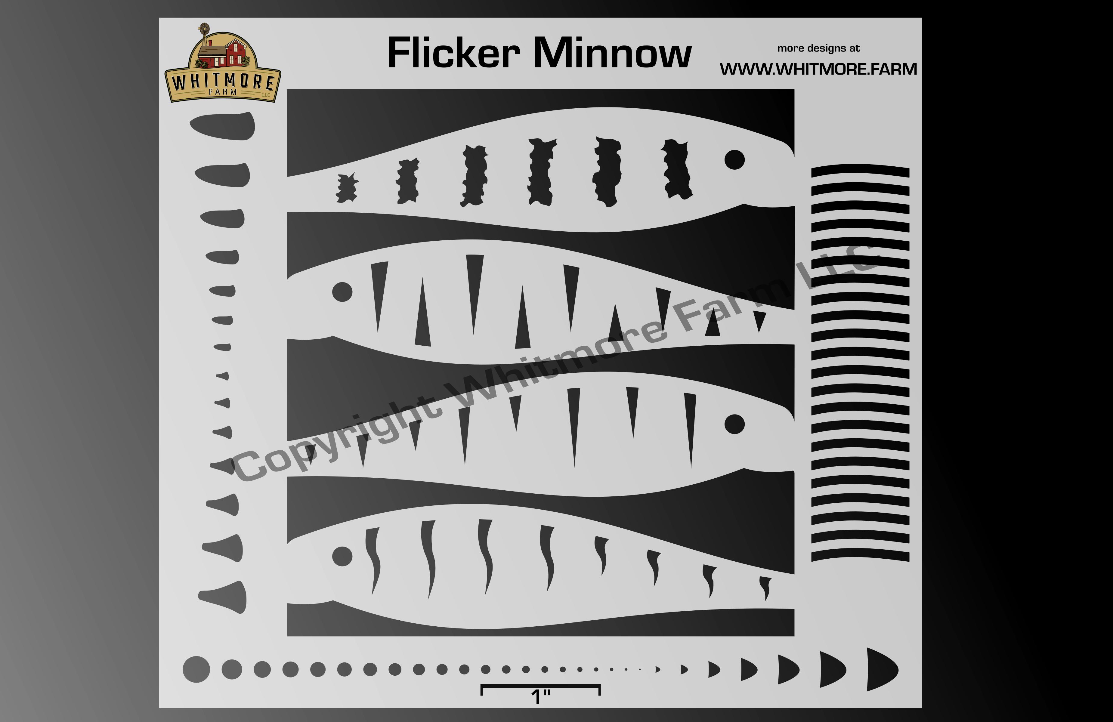 Flicker Minnow fishing lure airbrush stencil